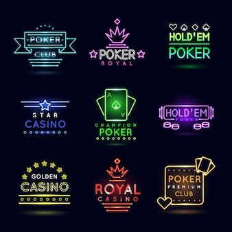 Emblemas de jogos de azar com luz neon