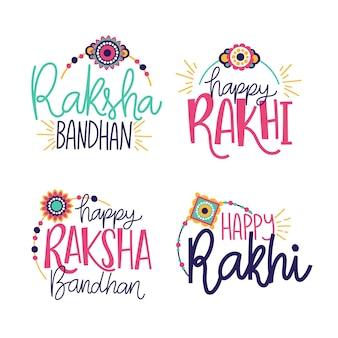 Emblemas de letras de raksha bandhan