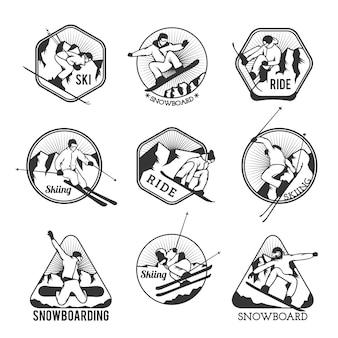 Emblemas de logotipo de estância de esqui