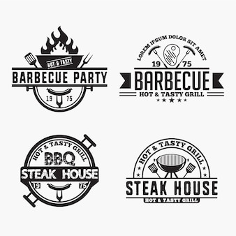Emblemas de logotipos de churrasco