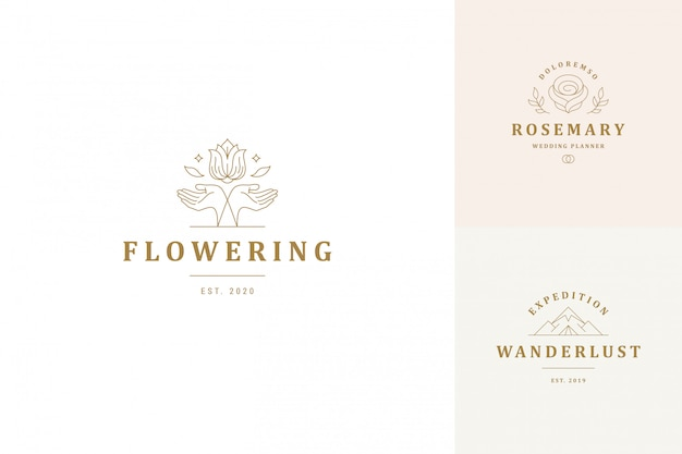 Emblemas de logotipos vetor linha design modelos conjunto - gesto feminino mãos e ilustrações de flores rosa
