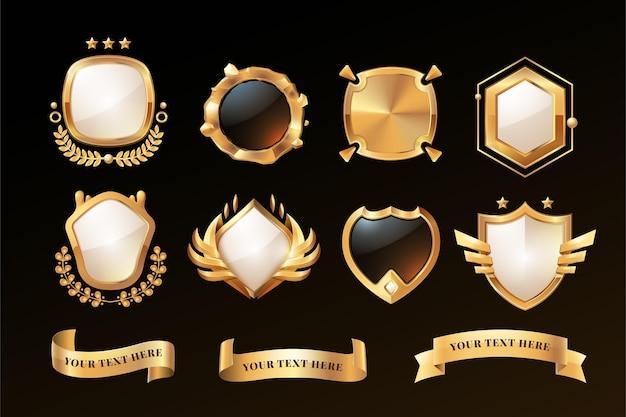 Emblemas de luxo dourado gradiente