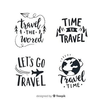 Emblemas de mão desenhada citação lettering estilo