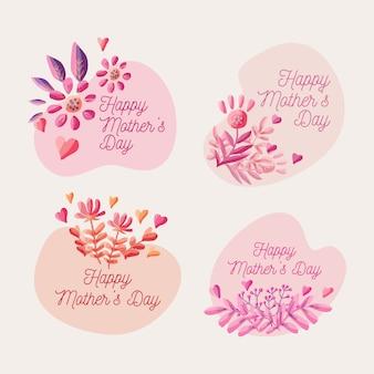 Emblemas de mão desenhada dia das mães
