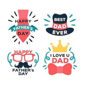 Emblemas de mão desenhada dia dos pais