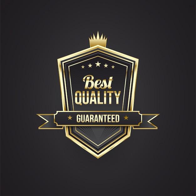 Emblemas de melhor qualidade em preto e dourado com conceitos de escudo