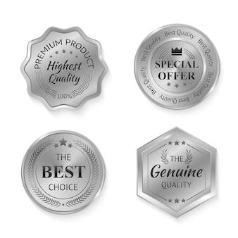 Emblemas de metal prata