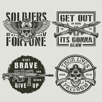 Emblemas de militares e exército vintage