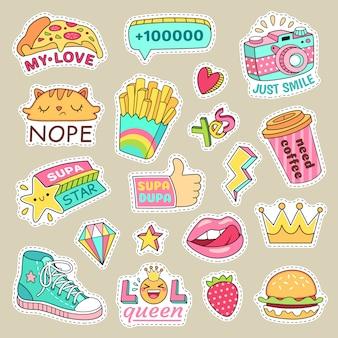 Emblemas de moda garota, listras bonitinha e desenhos animados patches.