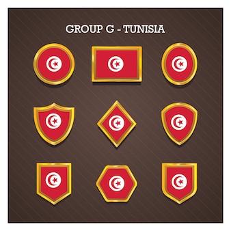 Emblemas de moldura dourada com bandeiras do país copa do mundo - tunísia