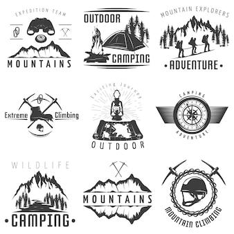 Emblemas de montanhas preto branco
