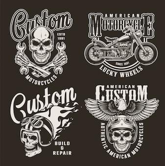 Emblemas de motocicleta personalizada monocromática vintage