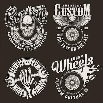 Emblemas de motocicleta personalizada monocromática