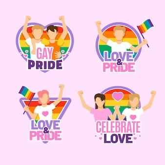 Emblemas de néon do dia do orgulho