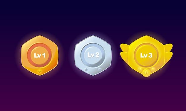 Emblemas de nível bronze, prata, ouro conjunto premium