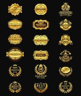 Emblemas de ouro, adesivos de qualidade premium isolados no preto