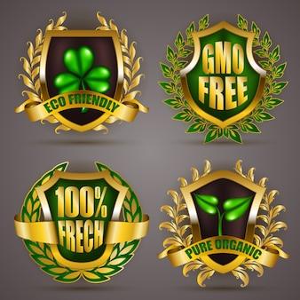 Emblemas de ouro com coroa de louros
