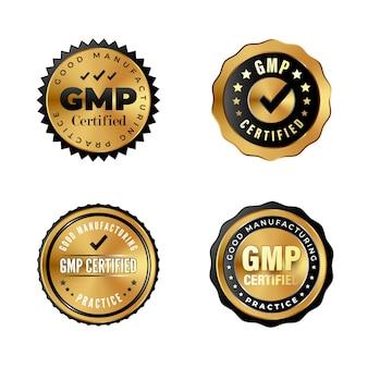 Emblemas de ouro de luxo com certificação gmp. adesivos industriais para produtos premium com a etiqueta de boas práticas de fabricação. conjunto de carimbos certificados gmp