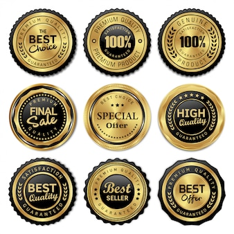 Emblemas de ouro de luxo e rótulos de qualidade premium