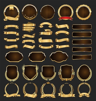 Emblemas de ouro rótulos laurels e fitas coleção