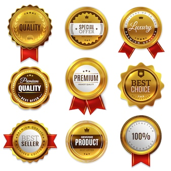 Emblemas de ouro selar rótulos de qualidade. venda medalha distintivo premium carimbo emblema genuíno dourado conjunto redondo