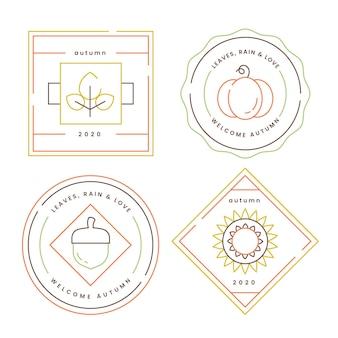 Emblemas de outono de design plano