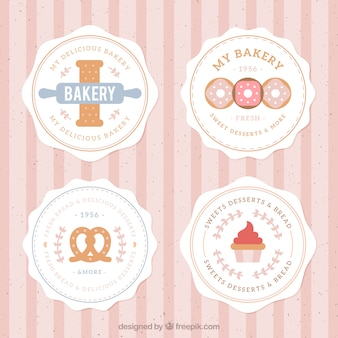Emblemas de padaria, estilo plana