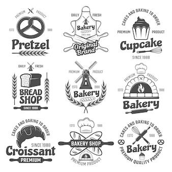 Emblemas de padaria preto branco