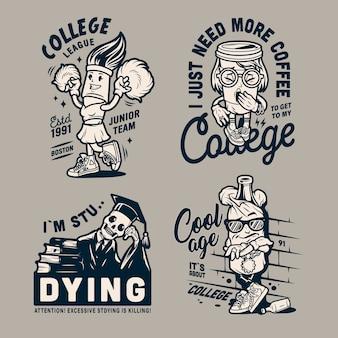 Emblemas de personagens engraçados da faculdade vintage