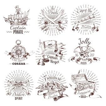Emblemas de pirata desenhados à mão com o tesouro de um veleiro com bandeira de roger