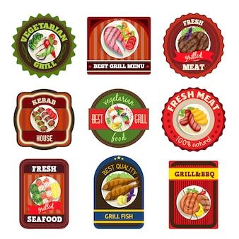 Emblemas de pratos grelhados
