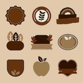 Emblemas de produtos naturais definem vetor em tom de terra marrom