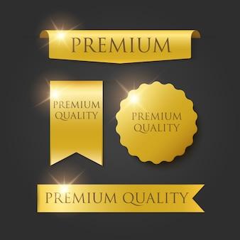 Emblemas de qualidade premium e tags isoladas em preto