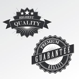 Emblemas de qualidade premium (etiquetas) em estilo vintage, vetor