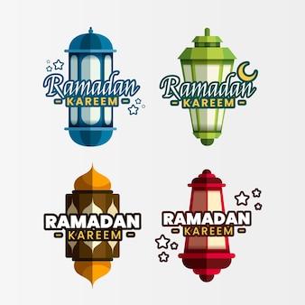 Emblemas de ramadan design plano