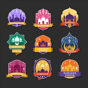 Emblemas de ramadhan kareem e design de logotipo