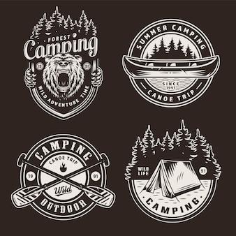 Emblemas de recreação ao ar livre do verão vintage