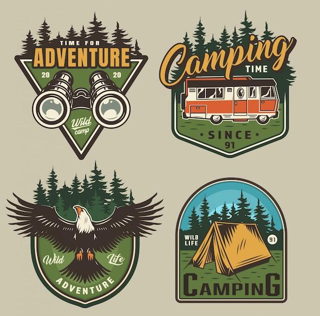 Emblemas de recreação ao ar livre vintage