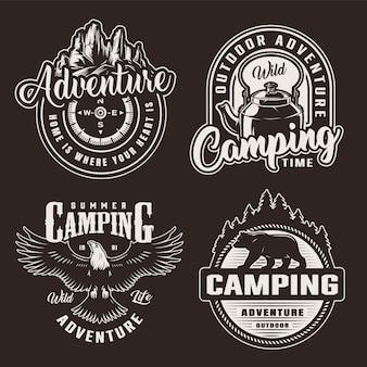 Emblemas de recreação vintage monocromático verão