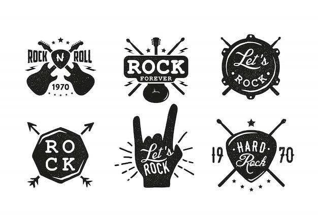 Emblemas de rock. rótulo retrô, crachá.