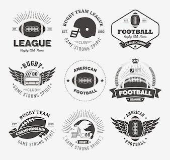 Emblemas de Rugby e Coleção de Etiquetas