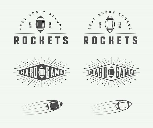 Emblemas de rugby e futebol americano