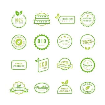 Emblemas de selo de produto orgânico definir ilustração