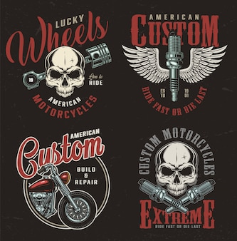Emblemas de serviço de reparo de moto vintage