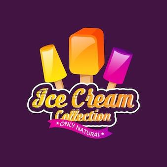 Emblemas de sorvete, etiqueta ou distintivo