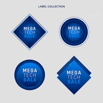 Emblemas de tecnologia de textura gradiente
