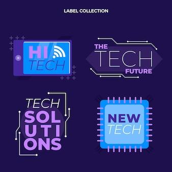 Emblemas de tecnologia mínima plana