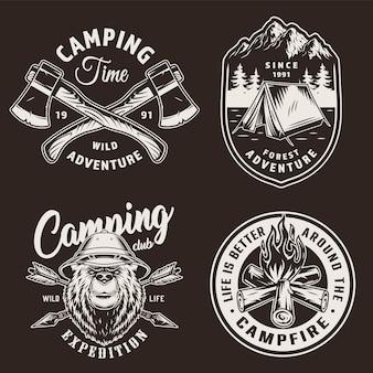 Emblemas de temporada de acampamento vintage