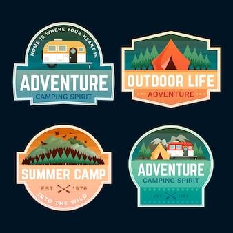Emblemas de tenda e aventura ao ar livre