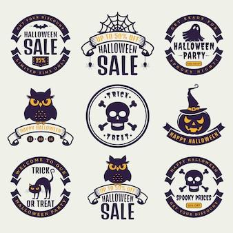 Emblemas de tipografia de halloween.